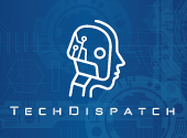 robot and techdispatch name on a blue background as this is the techdispatch publication's logo