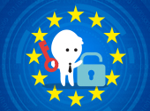 EU flag with a person that has a key and lock in their hands to symbolise data protection