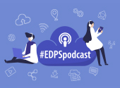 two cartoon-like people with headphones listening to the EDPS podcast; the hashtag #EDPSpodcast is at the centre of the image